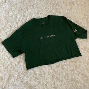 Champion Green Embroidered Civil Regime Crop Top